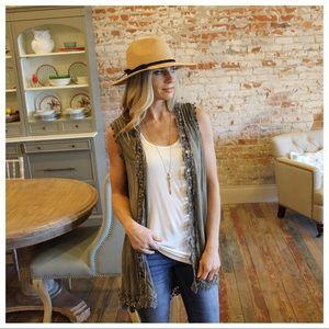 Olive vintage wash lace detail vest